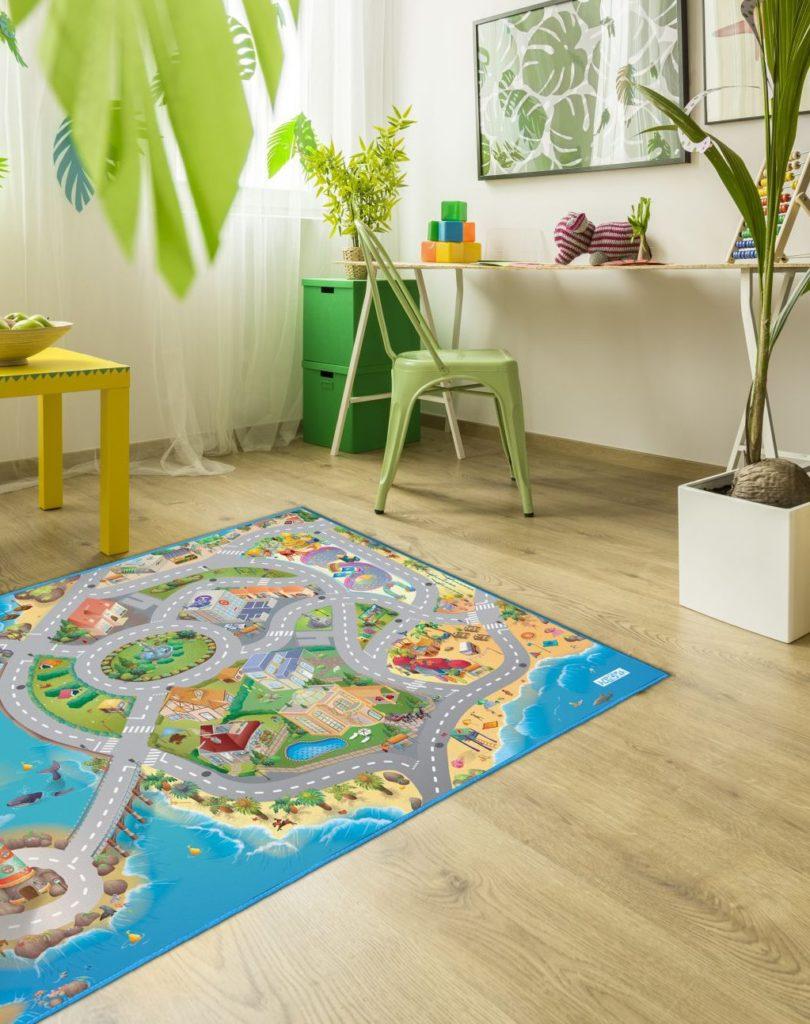 Kinderteppich mit Hafenstadt-Motiv