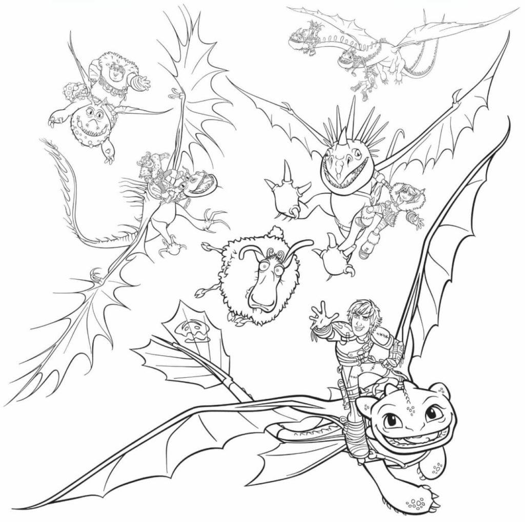 Dragons Ausmalbild - verscheiden Drachen