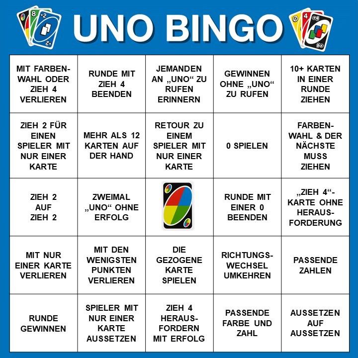 Spieltipp 8 - UNO Bingo - zweite Variante