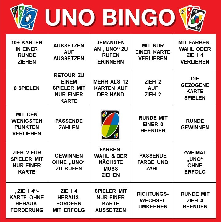 Spieltipp 8 - UNO Bingo