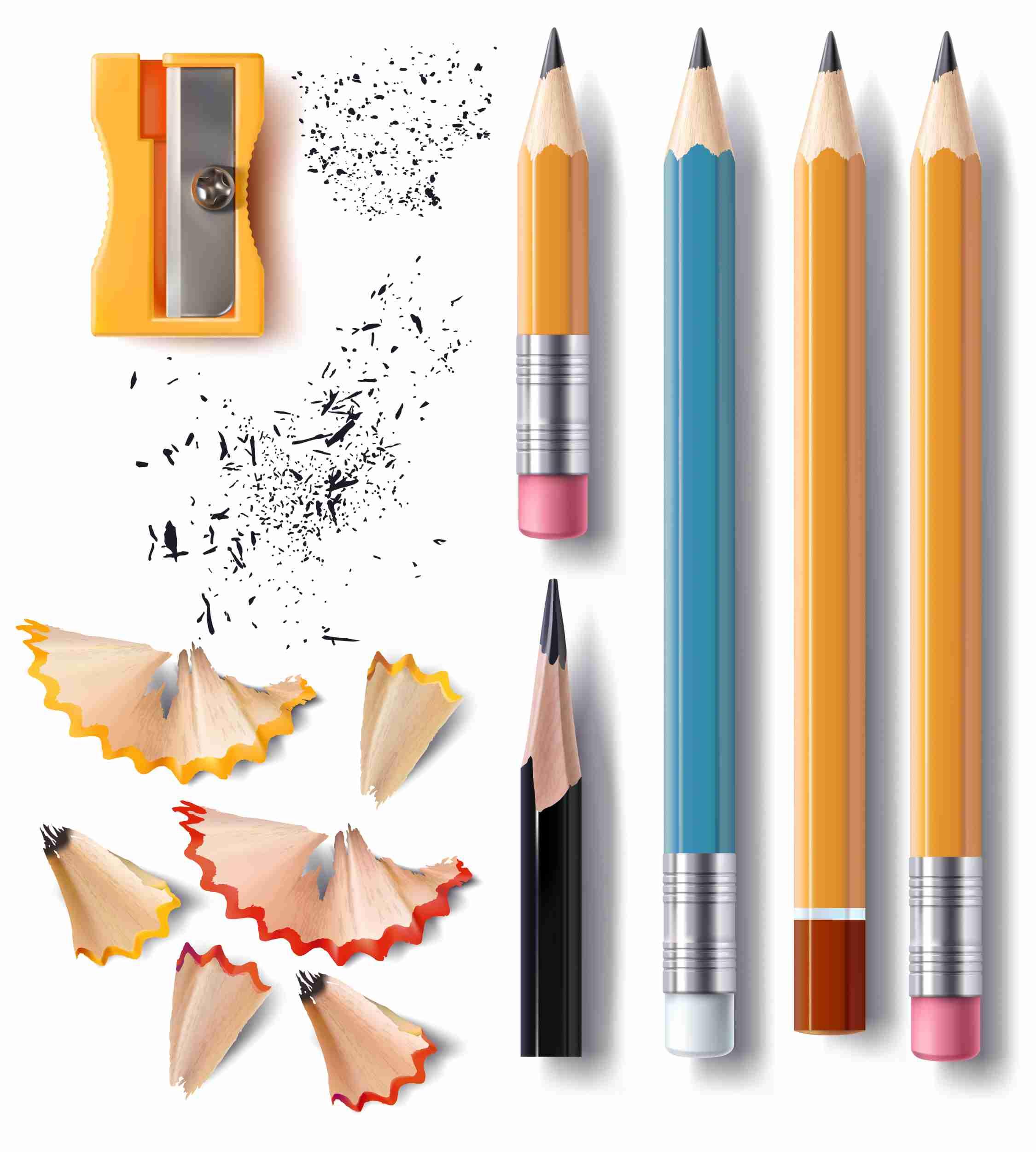 Bleistifte in verschiedenen Größen und Formen