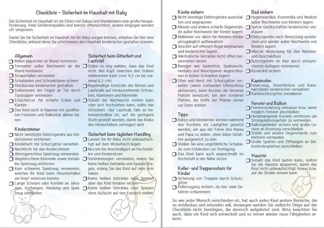 Checkliste für Babysicherheit im Haushalt