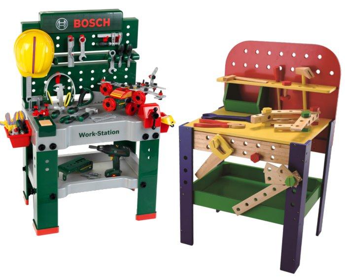Werkbank aus Kunststoff und Holz