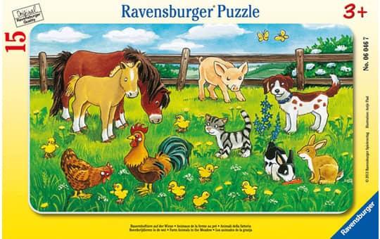 Rahmenpuzzle - Bauernhoftiere auf der Wiese - 15 Teile