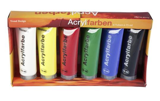 Acrylfarbenset - 6 Tuben à 75 ml
