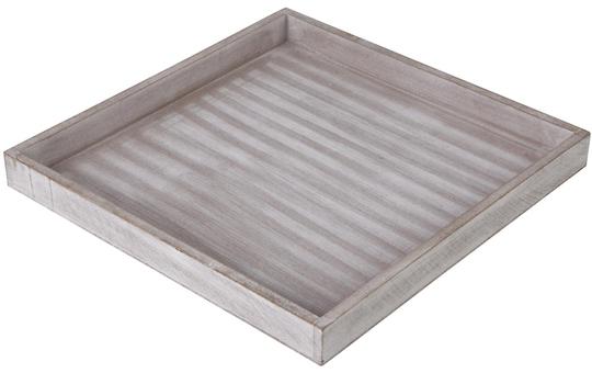 Tablett - aus Holz - 30 x 30 x 3 cm - in braun