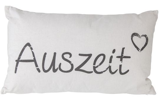 Kissen - Auszeit - aus Baumwolle - 30 x 50 cm - weiß