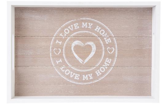 Tablett - I Love My Home - aus Holz - groß