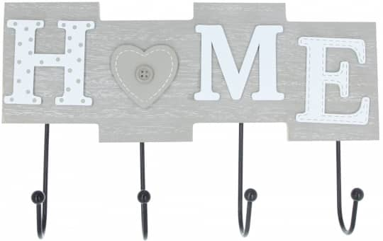 Hakenleiste - Home - aus Holz - 28 x 4,5 x 17,5 cm