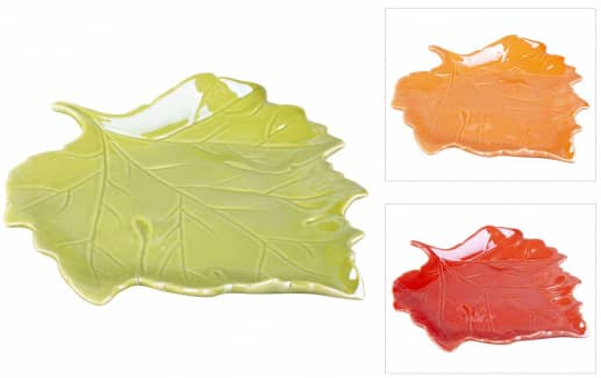 Dekoteller - Blatt - aus Keramik - 19 x 16,5 x 3 cm - 1 Stück