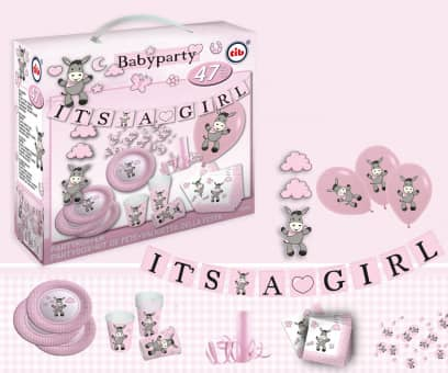 Babyparty Koffer - Esel - It´s a girl - 47 tlg.