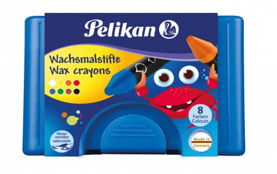 Pelikan, 8 Wachsmaler wasservermalbar, rund in Box