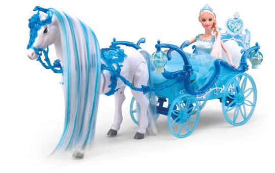 Prinzessinnenkutsche - blau - mit Pferd und Modepuppe