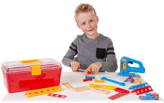 Besttoy - Werkzeug Set mit Stichsäge, im Koffer, rot