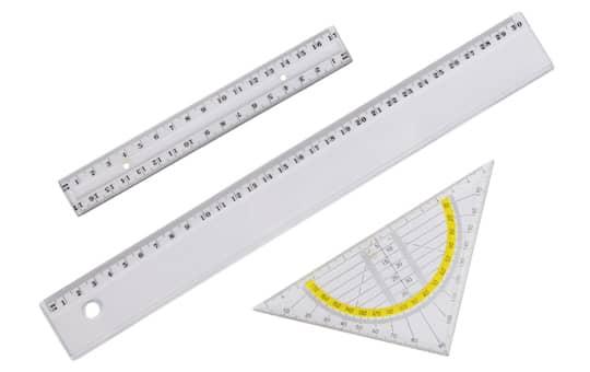Mica - Linealset 3teilig Lineal 30cm + 16cm + Geodreieck