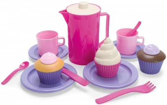 Spielzeug-Teeservice mit Cupcakes