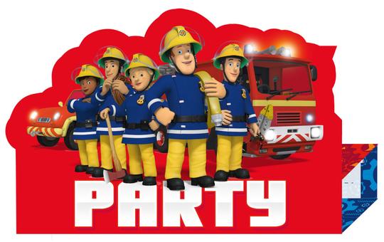 8 Einladungskarten - Feuerwehrmann Sam