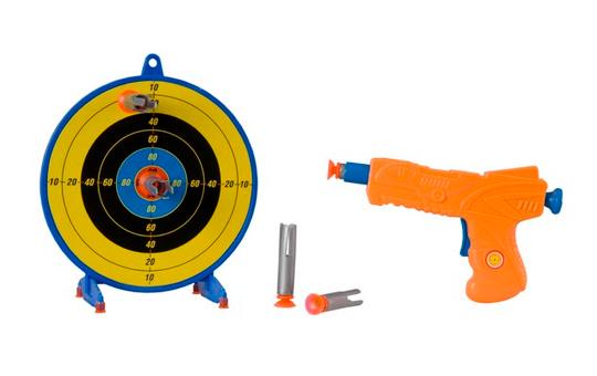 BESTTOY Pistole Target Fun mit 5 Saugpfeilen + Zielscheibe