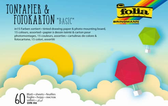 Tonpapier & Fotokarton DIN A6 - Basic - 60 Blatt in 15 Farben