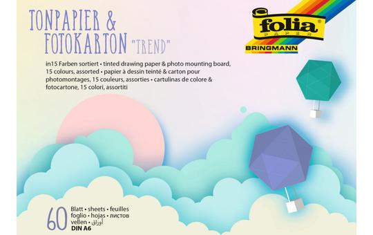 Tonpapier & Fotokarton DIN A6 - Trend - 60 Blatt in 15 Farben