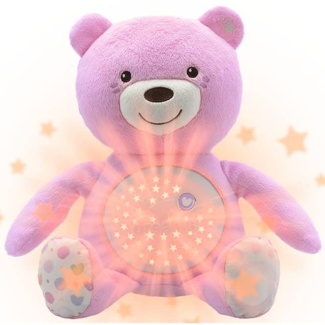Chicco - Nachtlicht für Babys mit Musik - Bär - rosa
