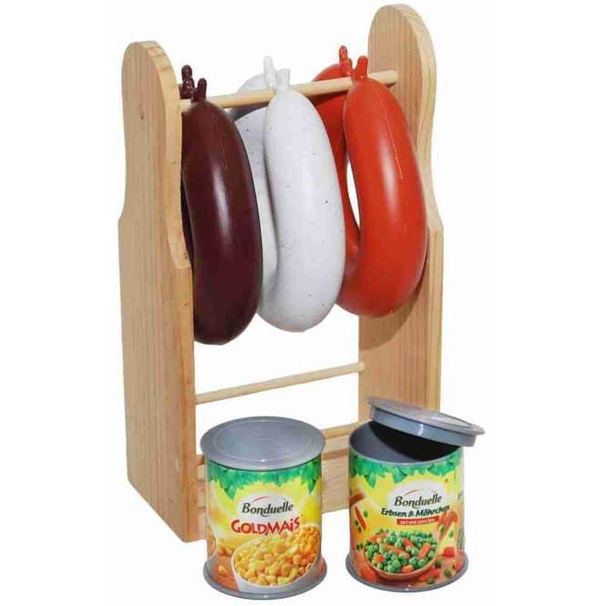 Kaufladenzubehör - Wurstständer mit Dosen