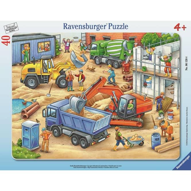 Rahmenpuzzle - Große Baustellenfahrzeuge - 40 Teile
