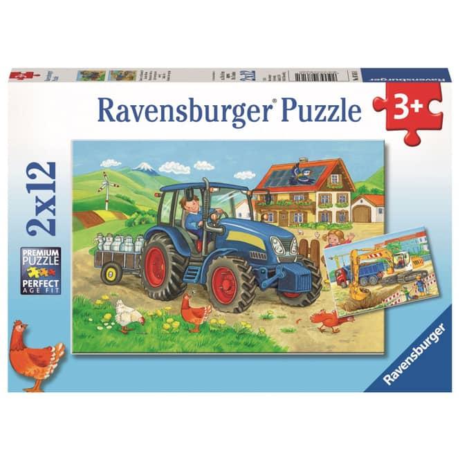 Puzzle-Box - Baustelle und Bauernhof - 2x 12 Teile