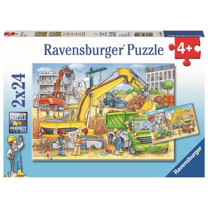 Puzzle-Box - Viel zu tun auf der Baustelle - 2x 24 Teile