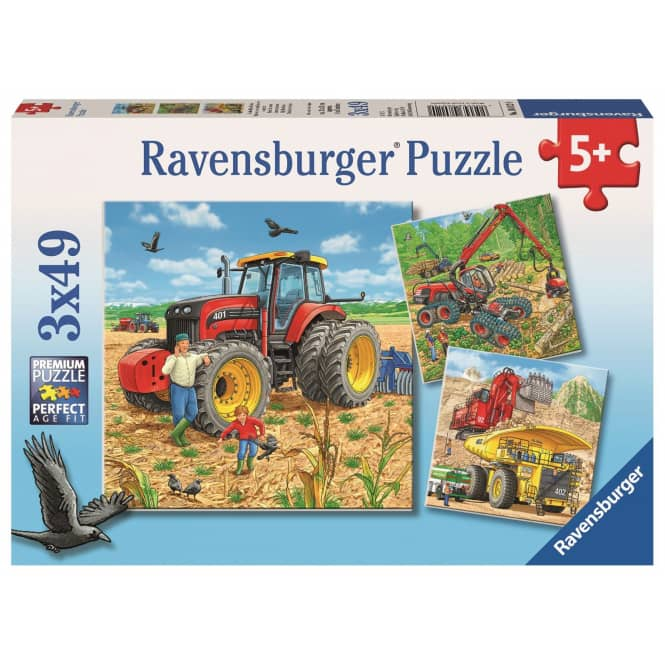 Puzzle-Box - Große Maschinen - 3x 49 Teile