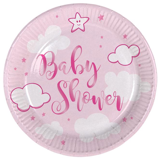 8 Teller - Baby Shower - rosa - Ø 18 cm