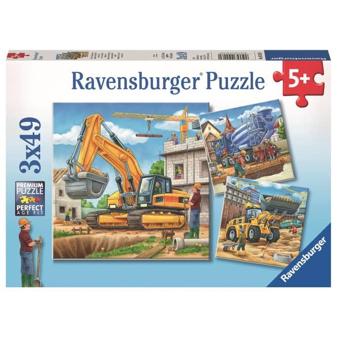 Puzzle-Box - Große Baufahrzeuge - 3x 49 Teile