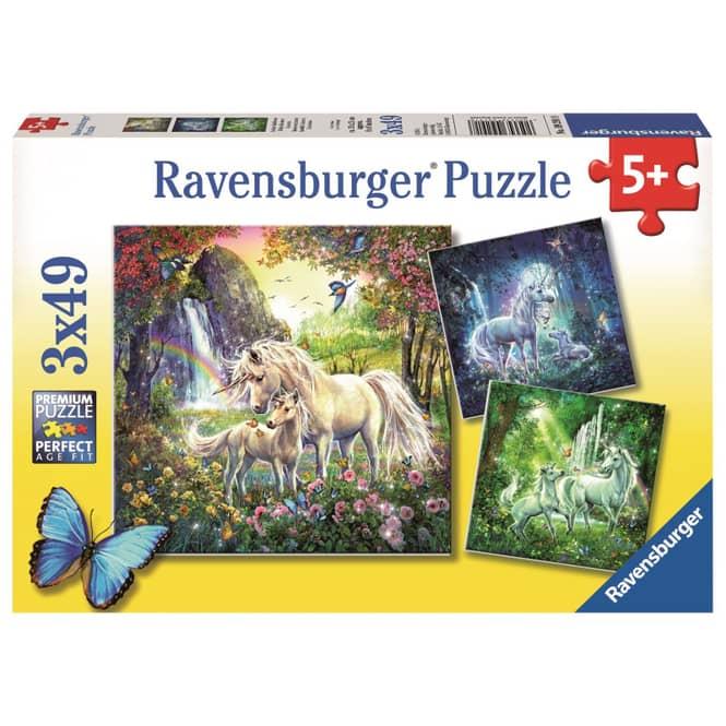 Puzzle-Box - Schöne Einhörner - 3x 49 Teile