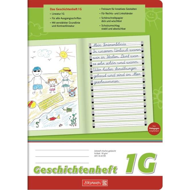 Geschichtenheft - DIN A4  Linien 1 - Brunnen