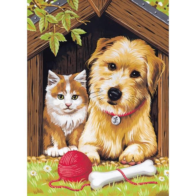 Malen nach Zahlen Gute Freunde -Katze und Hund