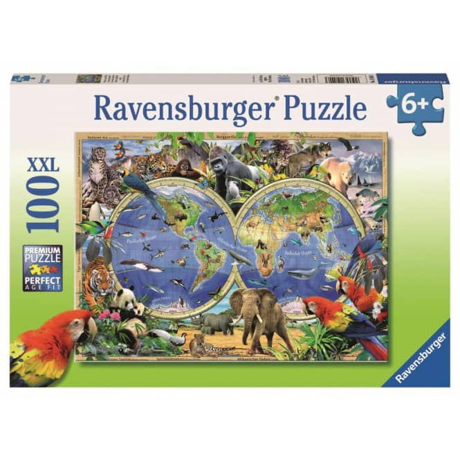 Puzzle - Tierisch um die Welt - 100 XXL Teile