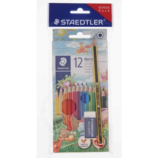 12 Buntstifte Noris colour - mit 1 Bleistift HB und Radierer