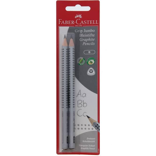 2 Jumbo Grip 2001 Bleistifte B silber Faber-Castell