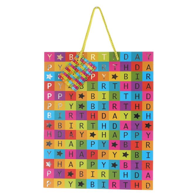 Geschenktasche - Happy Birthday - ca. 26 x 12,5 x 32,5 cm
