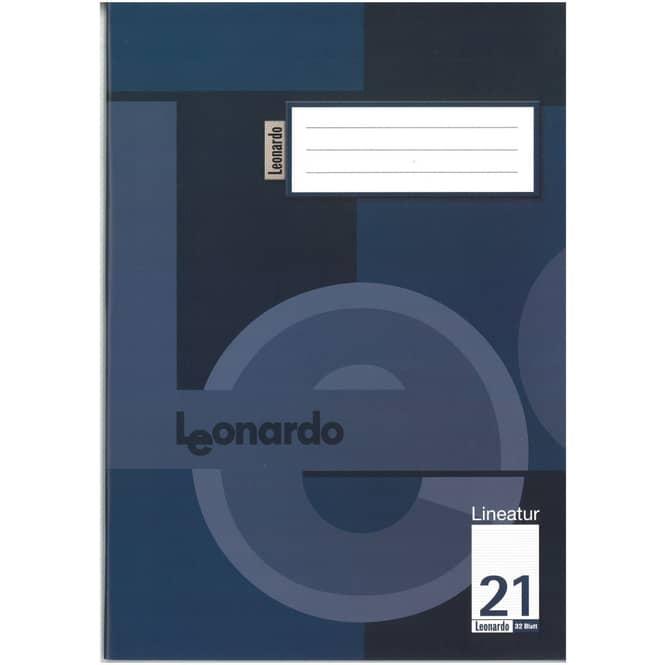 Schulheft - Doppelheft DIN A4 - 32 Blatt - Lineatur 21