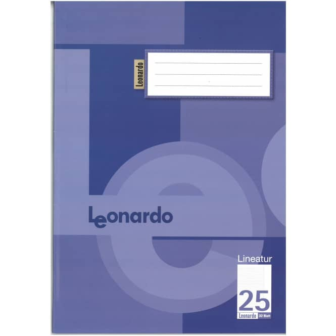 Schulheft - Doppelheft DIN A4 - 32 Blatt - liniert mit Rand - Lineatur 25