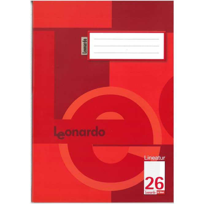 Schulheft - Doppelheft DIN A4 - 32 Blatt - kariert mit Rand - Lineatur 26