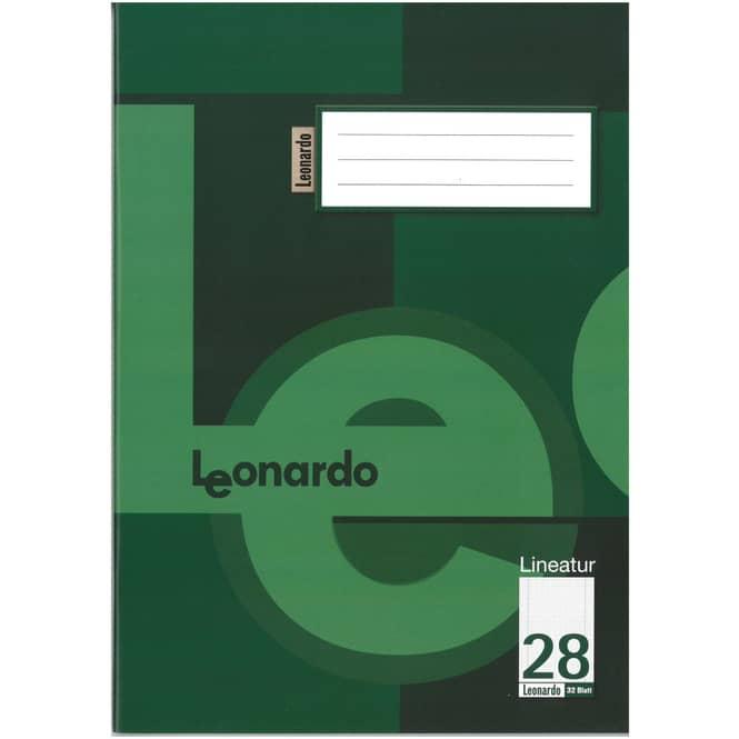 Schulheft - Doppelheft DIN A4 - 32 Blatt - Lineatur 28