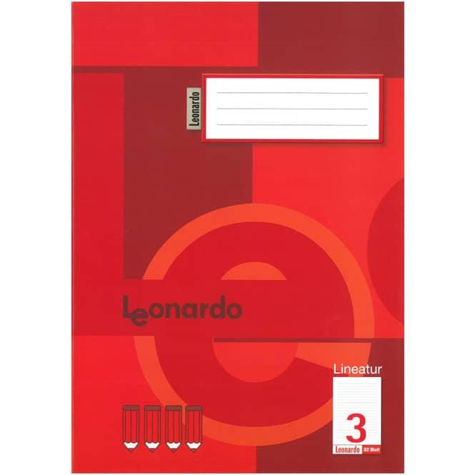 Schulheft - Doppelheft DIN A4 - 32 Blatt - Lineatur 3