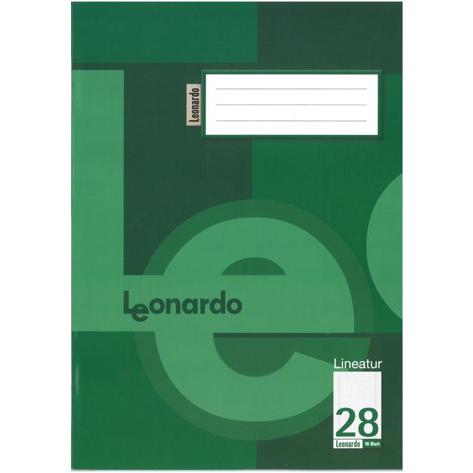100 Schulhefte DIN A4 kariert mit Doppelrand, Lineatur 28