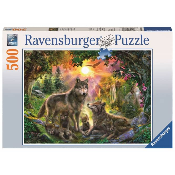 Puzzle - Wolfsfamilie im Sonnenschein - 500 Teile
