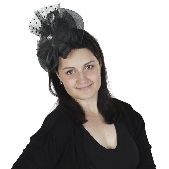 Faschings-Haarreif mit Tüllschleife in schwarz
