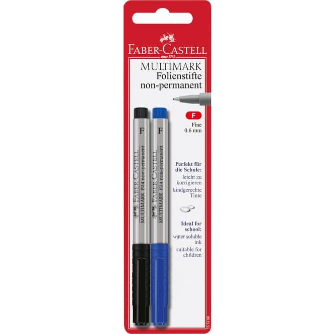 Faber-Castell Folienstifte Multimark, 2 Stück, non-permanent, fein, schwarz/blau