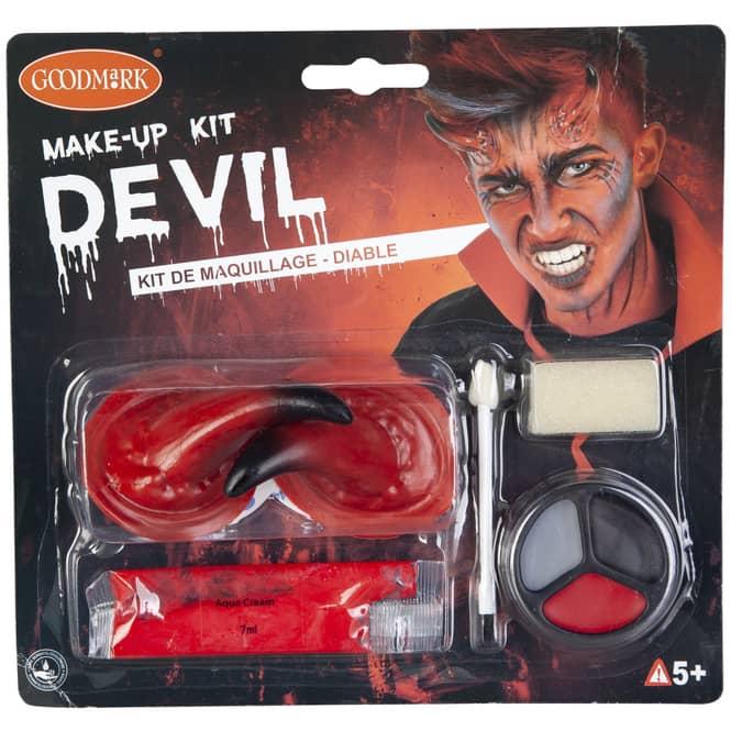 Schminkset Teufel, mit Hörnern, für Halloween oder Fasching