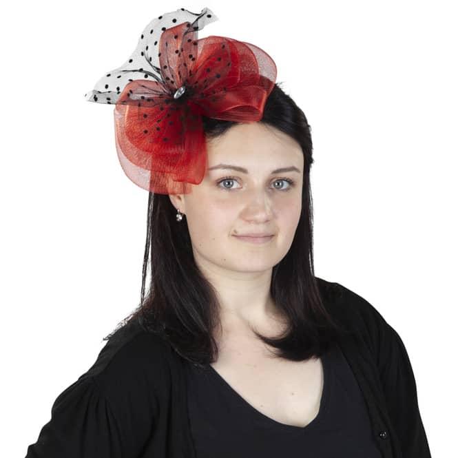 Faschings Haarreif mit Tüllschleife in  rot und schwarz